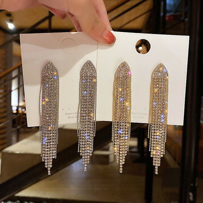 Fashion Women Crystal Tassel Long Earrings Drop Dangle Jewelry Wedding Party