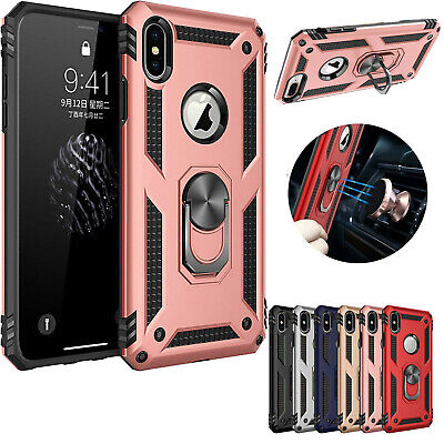 For iPhone 11 Pro XS Max XR X 6 7 8 Plus Heavy Duty Metal Ring Stand Case Cover