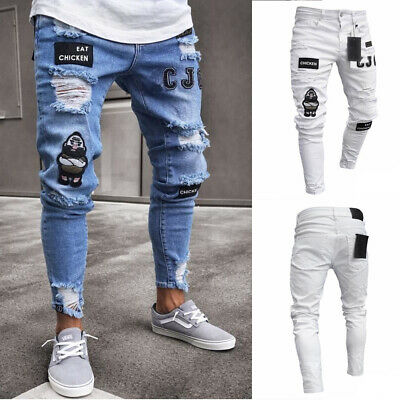 Mens Skinny Stretch Denim Pants Distressed Ripped Frayed Slim Fit Jeans Trousers