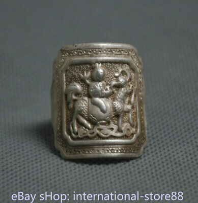 2.5CM Old Chinese Miao Silver Dynasty Palace Belle Ride Kylin Finger Rings