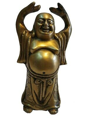 Solid Brass Decor Lucky & Happiness,Laughing Buddha Figurines Sculptures #TSHUK4
