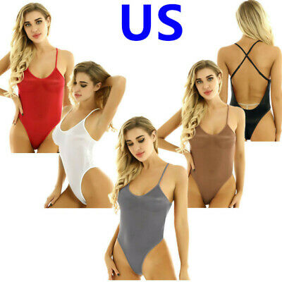 Sexy Women High Cut See Through Bodysuit Swimwear Mesh Stocking Leotard Lingerie