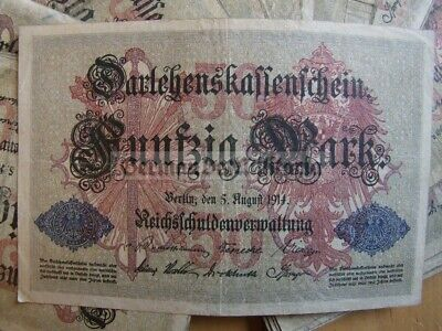om51) c1914 50 Marks Reichsbanknote - German WW1 banknote in used condition