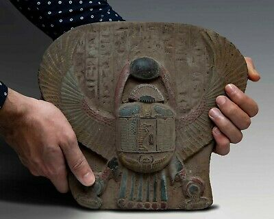 Vintage EGYPTIAN ANTIQUES WALL SCARAB Beetle Sculpture STELA RELIEF Stone # BC