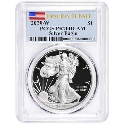 2020-W Proof $1 American Silver Eagle PCGS PR70DCAM FDOI Flag Label