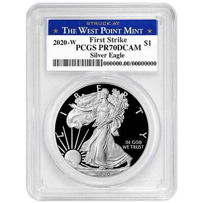2020-W Proof $1 American Silver Eagle PCGS PR70DCAM First Strike West Point Labe