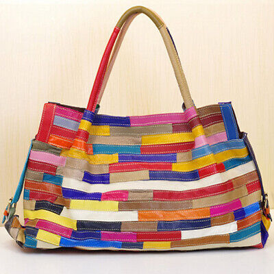 Genuine Leather Colorful Blocks Patchwork Handbags Large Capacity Women's Tote