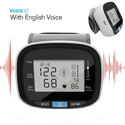 Automatic Digital Wrist Blood Pressure Monitor Heart Rate LCD Screen With Voice