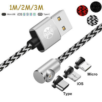 1~3M Elbow Magnetic Android Type C IOS Micro USB Charging Cable For iPhone Lot