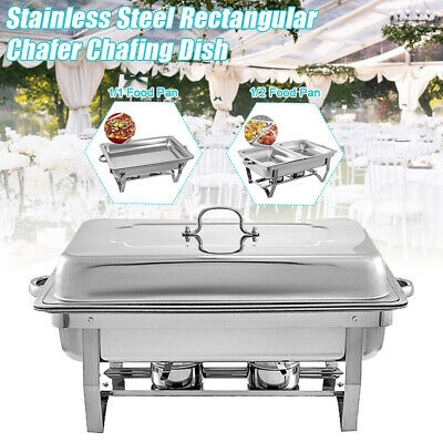 Catering Classic Stainless Steel Chafer Chafing Dish Food Tray Set Buffet Full