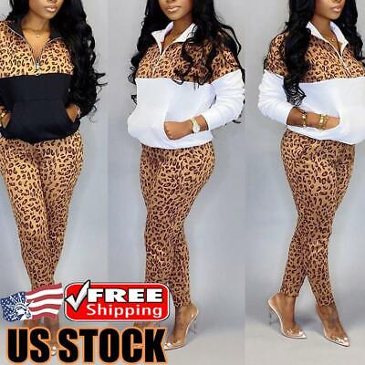 2Pcs Women Tracksuit Sweatshirt Zip Tops Pants Set Hoodies Sportwear Sweat Suits