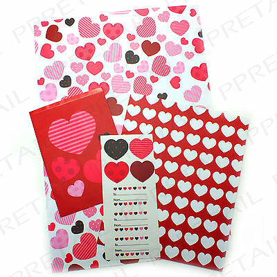 3Pc HEART GIFT POCKET BAG WITH STICKERS Love Valentine Birthday Wedding Packet