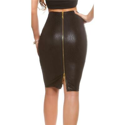 Sexy Pencil Skirt from Faux Leather with 2-WEGE-ZIPPER Black #RO196