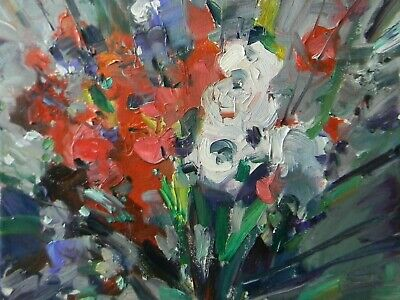 JOSE TRUJILLO OIL PAINTING Impressionism MODERN Floral Garden FAUVISM - ABSTRACT