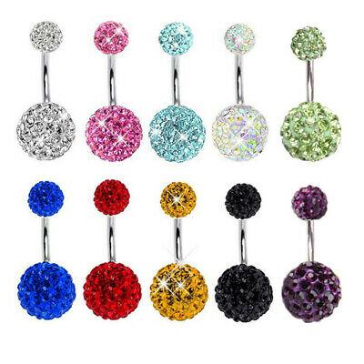 Fashion Belly Button Rings Navel Barbell Piercing Crystal Ball Body Jewelry