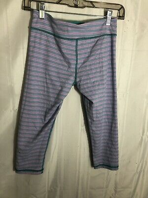 Ivivva Lululemon Girls Size 12  Capri Crop Leggings Gymnastics Blue and Pink