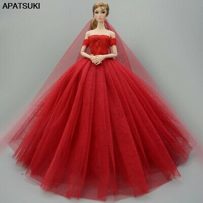 Red Dress For Barbie Doll Clothes Outfits Party Gown Wedding Dresses For Barbie