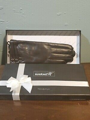 Women's Touchscreen Texting Winter Leather Driving Gloves w/ Cashmere Lining 7