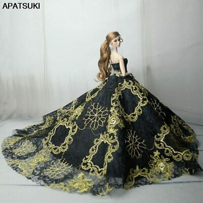 Embroidery Wedding Dress for Barbie Doll Clothes Evening Dress Party Gown Outfit