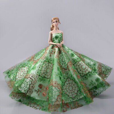 Green Wedding Dress Big Evening Party Gown Dress Outfits Clothes for Barbie Doll