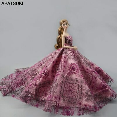 1pcs Wedding Dress Evening Vestidoes Party Gown Outfits Clothes for Barbie Dolls
