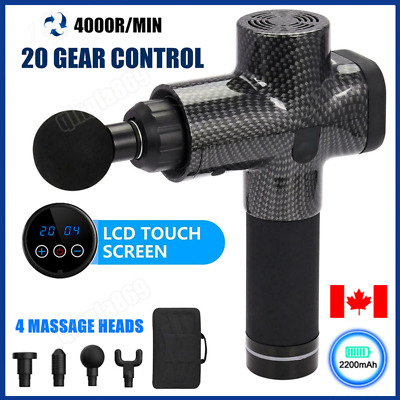 4 Heads LCD Massage Gun Percussion Massager Muscle Relaxing Therapy Deep Tissue@