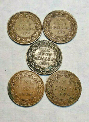 Lot of Five (5) Canadian One Cent, 1906, 1908, 1912, 1916 & 1918, Bronze