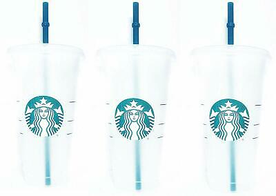 Reusable 3 Hard Plastic Venti 24 oz Frosted Ice Cold Drink Cup