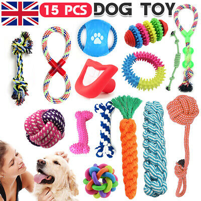 15x DOG PUPPY TOY ROPE TEETHING CHEW PLAYTIME AND TEETH CLEANING COTTON ROPE TOY