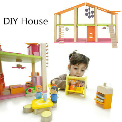 Large Wooden Dolls house Miniature Kids Pretend Play Toy DIY Furniture Gifts