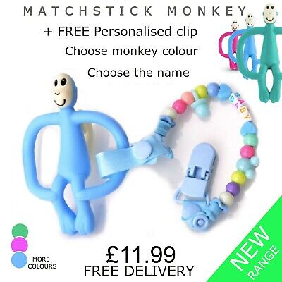 Teething Matchstick Monkey Teether with FREE Personalised Dummy Pacifier Clip