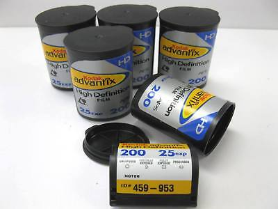 5 Rolls Kodak Advantix High Definition APS ISO 200 25 Exp Color Print Film