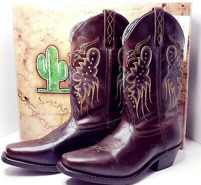 """ALL SIZES LAREDO CORA 11/"""" BRANDY STUDDED WOMEN/'S LEATHER WESTERN BOOTS 52034"""