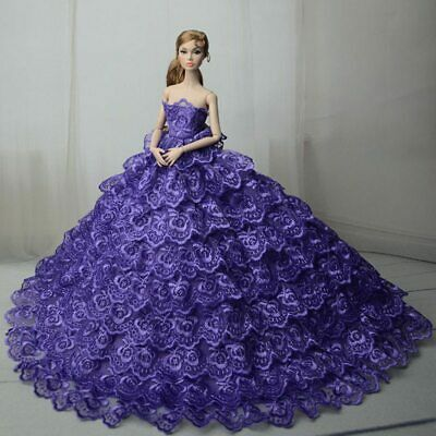 Purple Wedding Dress for Barbie Doll Clothes Outfits Princess Evening Dress Gown