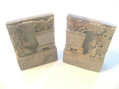 """Antique Asian Soapstone Sculpture Bookends-4"""" x 5"""" x1"""" Marked China"""