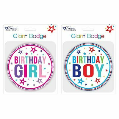 NEW! Giftmaker Giant Girl and Boy Birthday Badge Pack of 12 GBAD