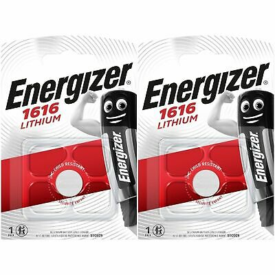 2 x Energizer CR1616 3V Lithium Coin Cell Battery CR1616, BR1616, Expiry 2029