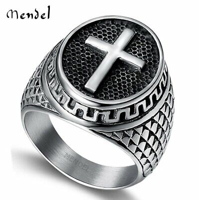 MENDEL Stainless Steel Mens Christian Cross Ring For Men Women Silver Size 7-14
