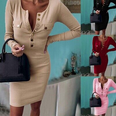 uk Womens V Neck Bodycon Dress Ladies Long Sleeve Knitted Sweater Jumper Casual