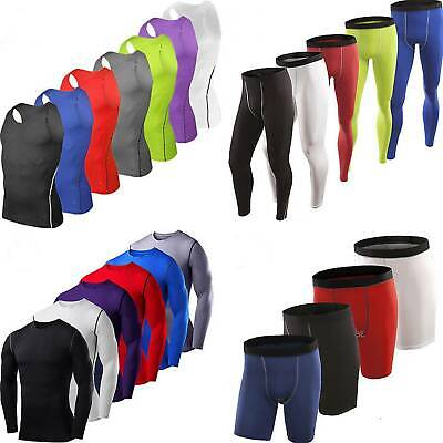 Mens Compression Thermal Under Fitness Tops Tee Shorts Long Pants Sports Costume