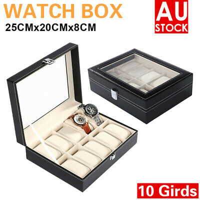 AU Leather Watch Jewelry Display Storage Holder Case 10 Grids Box Organizer Gift