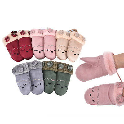 Child Winter Cashmere Cartoon Suede Leather Boys Girls Faux Sheepskin Gloves JR