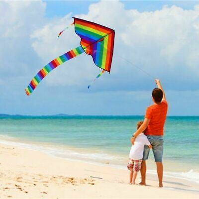 Colorful Rainbow Triangle Kite Outdoor Fun Sports Beach Kids Children No Line