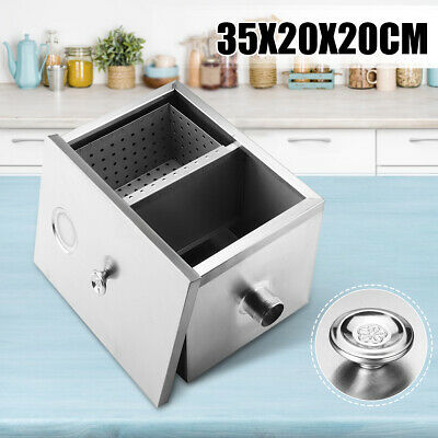 Commercial Kitchen Grease Trap Stainless Steel Interceptor Filter Set 35x20x20cm