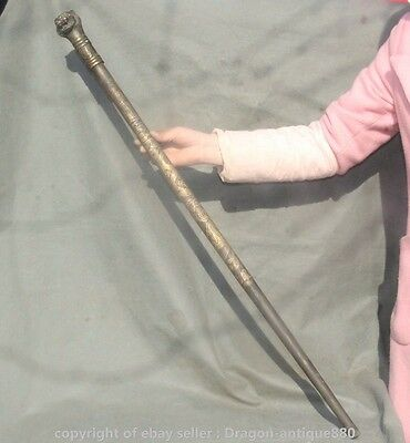 """36"""" Old Chinese Bronze Lion Head Old Man Crutch Walking Stick Crosier Statue A S"""