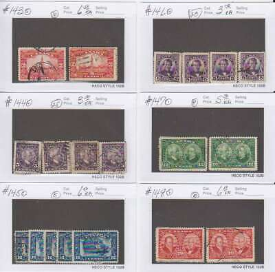 A7148: Canada #143-148 Used, Wholesale Lot; CV $365
