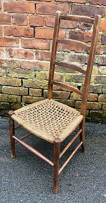 Vintage Arts And Crafts Wooden Ladderback Chair Rush Seat Low Bedroom Nursing