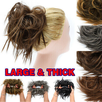 UK LARGE THICK Messy Bun Updo Tousled Scrunchie Wrap on Hair Piece Extension