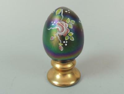 Fenton Art Glass Iridescent H.P. Egg w/Gold Accents Artist Signed EXC