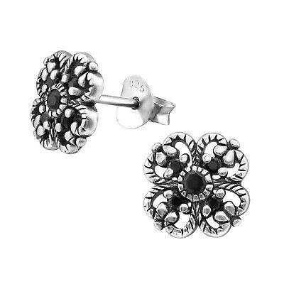Flower Black Zirconia Stud Earrings Oxid 925 Solid Sterling Silver Studs Gift